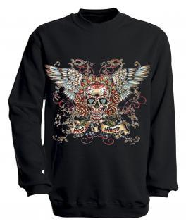 Sweatshirt mit Print - Santa Muerte - versch. farben zur Wahl - S10282 - Gr. schwarz / L