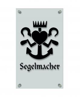 Zunftschild Handwerkerschild - Segelmacher - beschriftet auf edler Acryl-Kunststoff-Platte ? 309413 schwarz