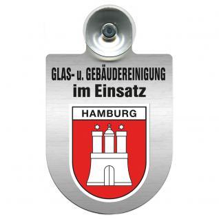 Einsatzschild für Windschutzscheibe incl. Saugnapf - Glas- u. Gebäudereinigung im Einsatz - 309399-15 Region Hamburg
