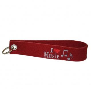 Filz-Schlüsselanhänger mit Stick I love Music Gr. ca. 17x3cm 14270 rot