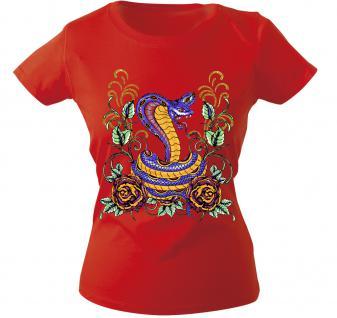 Girly-Shirt mit Print - Schlange - 10974 - versch. farben zur Wahl - rot / XS