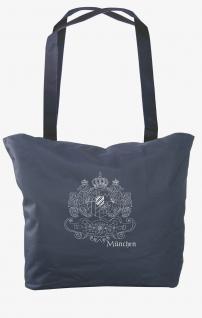 Umhängetasche mit Einstickung Einkaufstasche Bag München 08987 dunkelblau