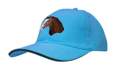 Baseballcap mit Pferde - Stick - Pferdekopf - 69250 türkis navy rosa - Baumwollcap Hut Schirmmütze Cappy Cap