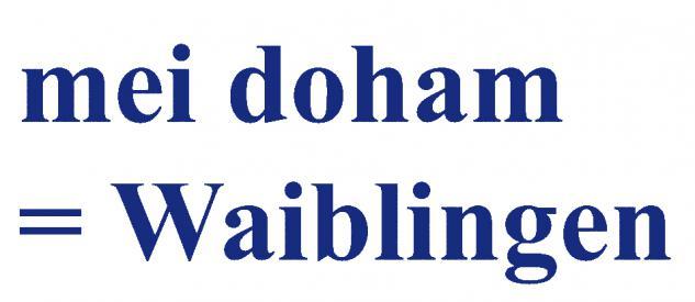 "PVC- Applikations- Aufkleber "" Mei doham= Waiblingen"" 25 cm groß in 8 Farben AP3032 blau"