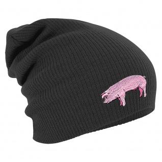 Longbeanie Slouch-Beanie Mütze Schwein 55312 grau