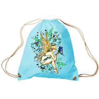 Trend-Bag Turnbeutel Sporttasche Rucksack mit Print - Fee - TB10972 hellblau