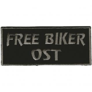 AUFNÄHER - Free Biker Ost - Gr. ca. 9 x 4 cm - Patches Stick Applikation