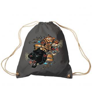 Trend-Bag Turnbeutel Sporttasche Rucksack mit Print - Leopard und Panther - TB12669 anthrazitgrau