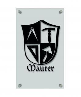 Zunftschild Handwerkerschild - Maurer -beschriftet auf edler Acryl-Kunststoff-Platte ? 309412 schwarz