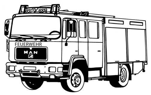 Aufkleber Wandapplikation - Feuerwehrauto Feuerwehrwagen - AP1008 schwarz / 70cm