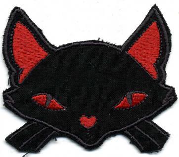Aufnäher - Katzenkopf - 02027 - Gr. ca. 7, 5 x 6 cm - Patches Stick Applikation