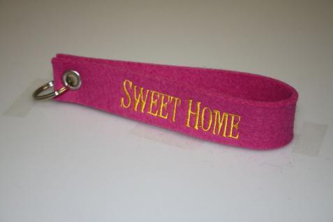 Filz-Schlüsselanhänger mit Stick - Sweet Home - Gr. ca. 17x3cm - 14429