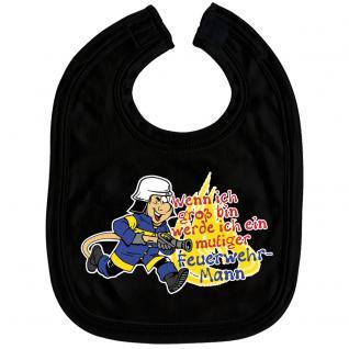 Babylätzchen mit Print - Wenn ich groß bin werde ich ein mutiger Feuerwehrmann - 07081 schwarz