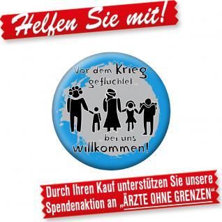 """(16274) Button """" Vor dem Krieg geflüchtet...."""" Anstecknadel"""