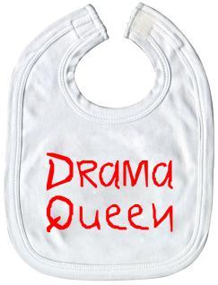 Baby-Lätzchen mit Druckmotiv - Drama Queen - 08454 - weiss