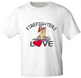 Kinder T-Shirt mit Print - Feuerwehr - FIREFIGHTERS LOVE - 08118 - weiß - Gr. 122/128