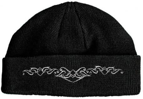 HIP-HOP Mütze Strickmütze mit Einstickung - Muster - 50968 schwarz
