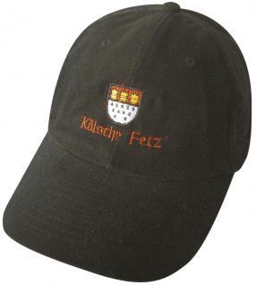 Sportcap mit Front-Stick - Kölsch e FETZ - 68904 schwarz - Baumwollcap Hut Schirmmütze Baseballcap Cappy Cap