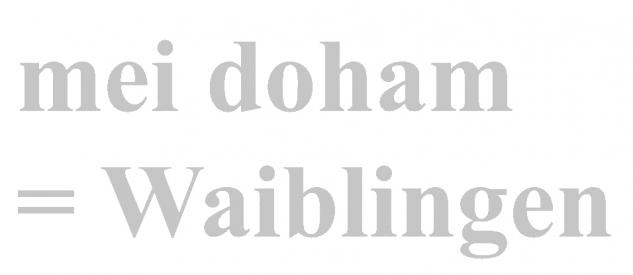 "PVC- Applikations- Aufkleber "" Mei doham= Waiblingen"" 25 cm groß in 8 Farben AP3032 silber"