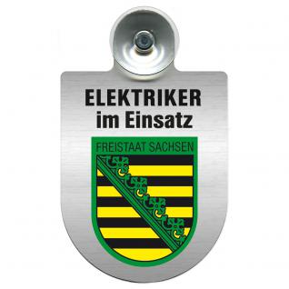 Einsatzschild für Windschutzscheibe incl. Saugnapf - Elektriker im Einsatz - 309489-3 Region Freistaat Sachsen