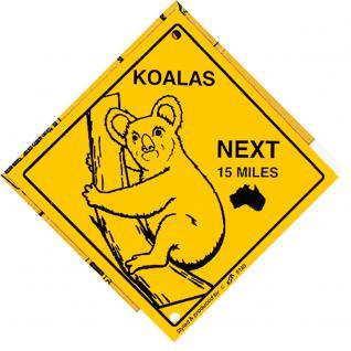 Schild mit Saugnäpfen - KOALAS next 15 miles - 309140 - Gr. ca. 20 x 20 cm