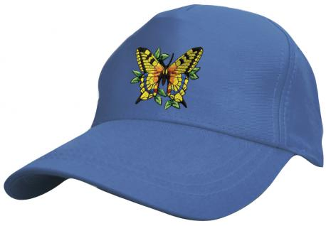 Kinder - Cap mit buntem Schmetterlings-Bestickung - Butterfly Schmetterling - 69133-3 blau - Baumwollcap Baseballcap Hut Cap Schirmmütze