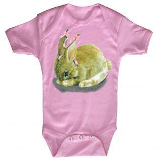 Baby-Body mit Druckmotiv Hase in 4 Farben und 4 Größen B12778 rosa / 6-12 Monate