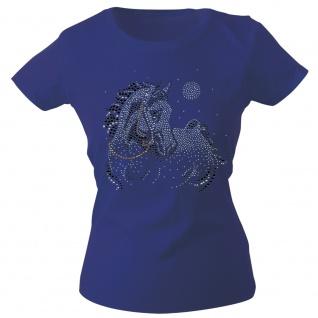 Girly-Shirt mit Strasssteinen Glitzer Pferd Horse Stute G88332 Gr. Navy / XS