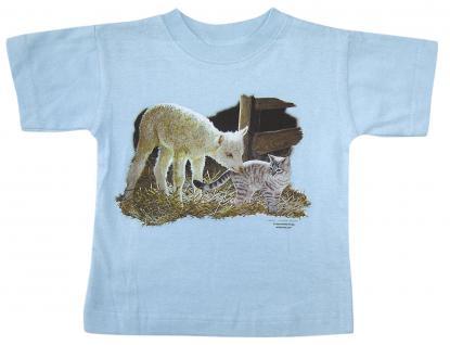 Kinder T-Shirt mit Print - Lämmchen und Kätzchen - 08202 - hellblau - Gr. 122/128