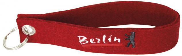 Filz-Schlüsselanhänger mit Stick Berlin Gr. ca. 17x3cm 14202 rot