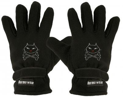 """(40385-56515) Fleece Handschuhe mit Einstickung """" KATZE/ CAT"""""""
