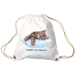 Sporttasche Turnbeutel Trend-Bag Print Cat Katze ruhend auf Kissen - KA072/2 weiß