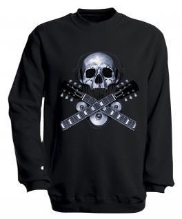 Sweatshirt mit Print - Skull Guitar - S10245 - versch. farben zur Wahl - Gr. schwarz / XL