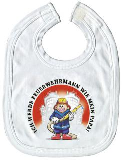 Baby- Lätzchen mit Druckmotiv - Feuerwehr- wie Papa - 08428 - weiss