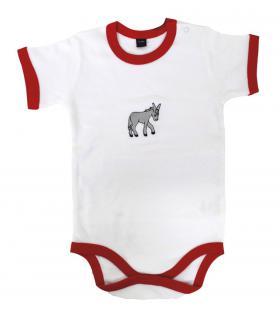 Babystrampler mit Print - Esel - 08333 weiß-rot - 6-12 Monate