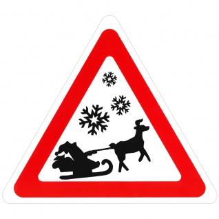 Schild Hinweisschild Vorsicht Weihnachtsmann mit Schlitten 308858/1 Gr. ca. 29, 5cm x 34cm