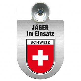 Einsatzschild mit Saugnapf Jäger im Einsatz 393821 Region Schweiz