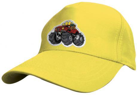 Kinder Schirm-Cap mit MonsterTruck-Stick - Monstertruck - 69127 rot blau weiss gelb schwarz - Baumwollcap Baseballcap Hut Schirmmütze Cappy - Vorschau 3