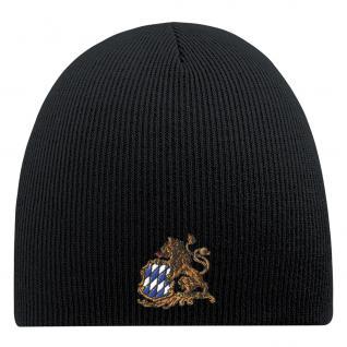 Beanie-Mütze mit Einstickung - BAYERNRAUTE WAPPEN - Wollmütze Wintermütze Strickmütze - 54809 schwarz