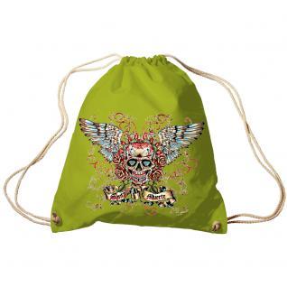 Trend-Bag Turnbeutel Sporttasche Rucksack mit Print - Santa Muerte - TB65310 limegrün