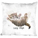 Kissen Dekokissen mit Print Katze Cat Lazy Days KA050 weiß