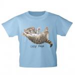 Kinder T-Shirt mit Print Cat Katze Lazy Days in Hängematte KA050/1 Gr. hellblau / 122/128