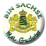 """Button Abzeichen Emblem Magnetbutton mit Druck """" Bin Sachse Mei Gudster"""" NEU (16232)"""