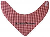 Dreiecktuch mit Einstickung -BUSENSCHMUSER - 12205 rot-weiß kariert