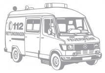 Aufkleber Wandapplikation - Rettungswagen - AP1011 - versch. Farben und Größen silber / 70cm