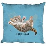 Kissen Dekokissen mit Print Katze Cat Lazy Days KA050 hellblau