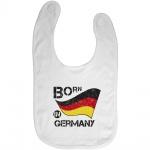 Baby-Lätzchen mit Print Born in Germany Fahne Flagge 12491 weiß