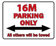 Schild aus Kunfststoff - Parkschild - 16 M Parking only - Gr.ca.40 x 30 cm - 303066