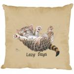 Kissen Dekokissen mit Print Katze Cat Lazy Days KA050 beige