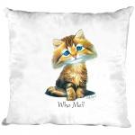 Kissen Dekokissen mit Print - Katze Cat Kätzchen Who me ? - 11684 weiß